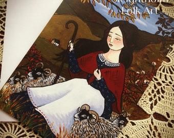 NOTECARD Down the Autumn Fells 5x7 shepherdess sheep folk art