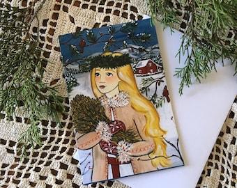NOTECARD Forest Lucia 4x6 Scandinavian Christmas Card