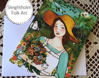 In The Dye Garden NOTECARD 5x7 blank card w envelope