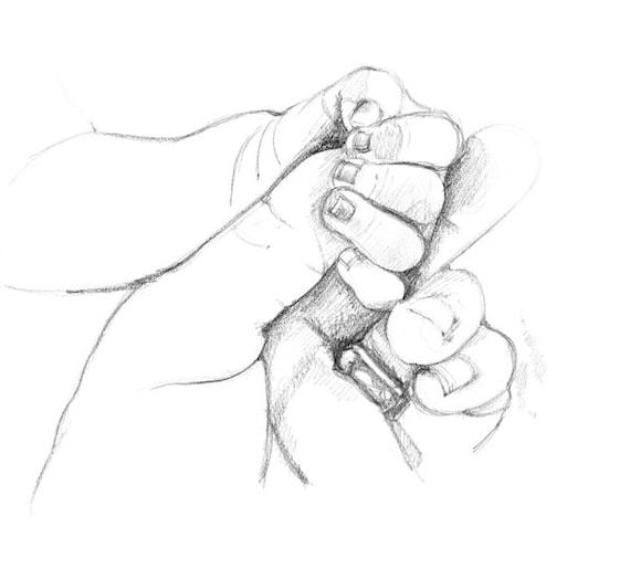 Custom Hand Drawn Black White Portrait Sketch Hands Baby Etsy