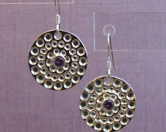 Silver Circles with Amethyst Earrings