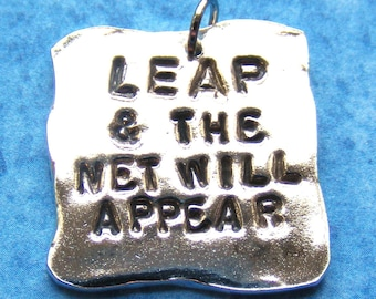 Leap Quotation Fine Silver Necklace