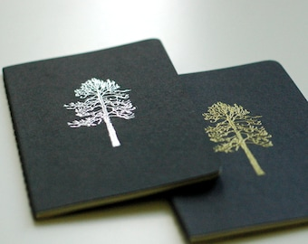 METALLIC TREE JOURNAL set - two lined black Moleskine mini journals featuring silver and gold metallic trees - hand embossed