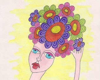 Flower headdress wall art, flower headdress art, Female face wall art, female face art, female face painting, woman wall art, watercolor