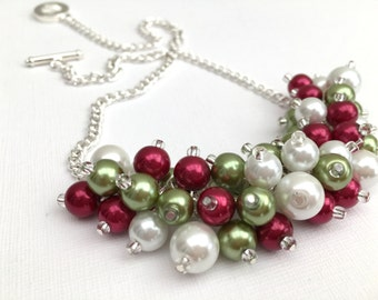 Christmas Necklace, Small Cluster Necklace, Christmas Jewelry, Statement Necklace, Gift for Her, Beaded Necklace, Winterberry, Red and Green