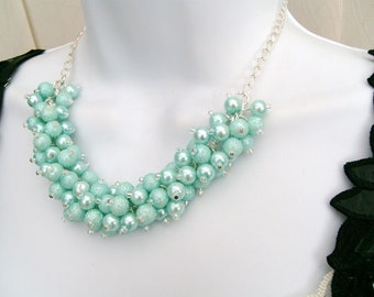 Mint Green Pearl Beaded Necklace, Bridesmaid Necklace, Chunky Necklace, Bridesmaid Gift, Wedding Jewelry - Handmade Designs By Kim Smith