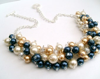 Ivory Navy Gold Beaded Necklace, Bridesmaid Jewelry, Cluster Necklace, Chunky Necklace, Bridesmaid Gift, Bridesmaid Necklace