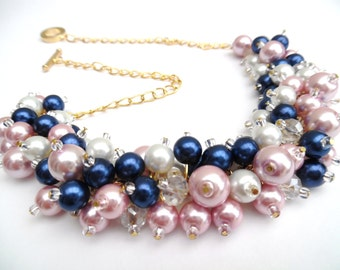 Pink Navy Blue and White Beaded Necklace, Pink Bridesmaid Jewelry, Cluster Necklace, Chunky Necklace, Bridesmaid Gift, Bridesmaid Necklace