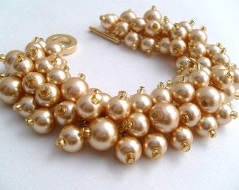 Champagne Gold Pearl Bracelet, Bridal Jewelry, Wedding, Pearl Bridesmaid Bracelet, Cluster Bracelet, Chunky Bracelet, - Designs by Kim Smith