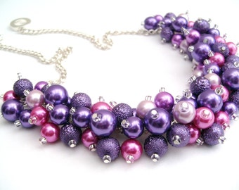 Pink and Purple Beaded Necklace, Purple Bridesmaid Jewelry, Cluster Necklace, Chunky Necklace, Bridesmaid Gift, Bridesmaid Necklace, Wedding