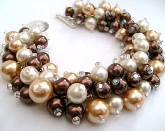 Bridal Jewelry, Wedding, Pearl Bridesmaid Bracelet, Cluster Bracelet, Pearl Bracelet, Brown and Ivory Pearl Jewelry - Designs by Kim Smith