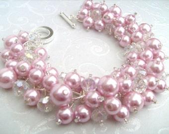 Pink Pearl Beaded Bracelet, Bridesmaid Jewelry, Wedding, Bridesmaid Bracelet, Cluster Bracelet, Pink Pearl Jewelry, Pink Wedding Theme, Gift