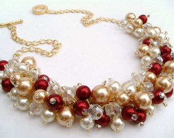 Winter Wedding Pearl Beaded Necklace, Red and Ivory Bridesmaid Jewelry, Cluster Necklace, Bridesmaid Gift, Bridesmaid Necklace