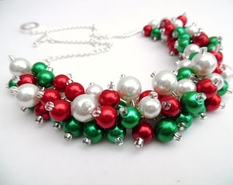 Christmas Necklace, Pearl Beaded Necklace, Holiday Jewelry, Cluster Necklace, Red Green and White Necklace, Christmas Colors, Chunky Jewelry