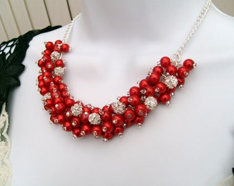 Red Pearl and Rhinestone Beaded Necklace, Bridal Jewelry, Cluster Necklace, Chunky Necklace, Bridesmaid Gift,  Pearl Crystals Kim Smith