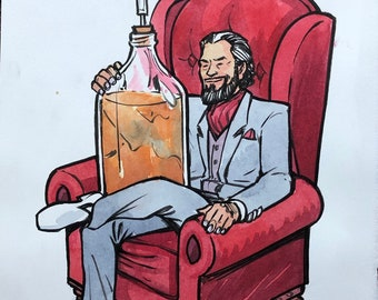 Most Interesting Home Brewer original ink and watercolor illustration
