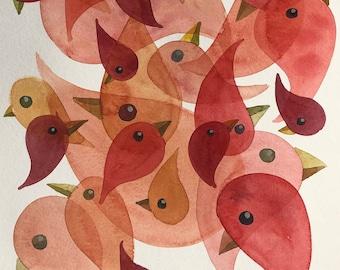 Overlapping Bird Drips original painting