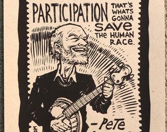 Pete Seeger quote screenprint