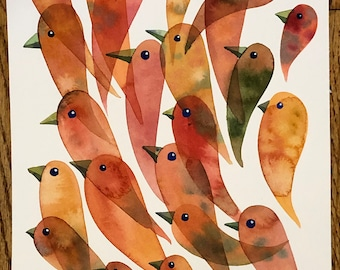 In Formation Bird Drips original painting