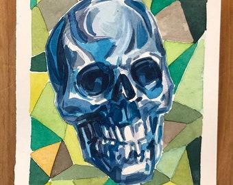 Shiny Skull original watercolor painting
