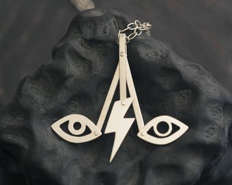 David's Eyes kinetic necklace - David Bowie tribute riveted sterling silver lightning bolt eyes pendant