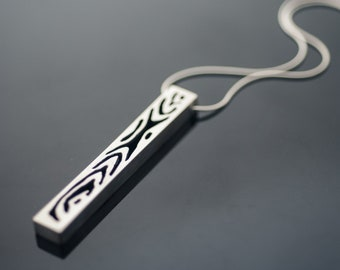 Wood Grain Sterling Silver Necklace