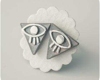 Evil Eye Stud Earrings in Sterling Silver