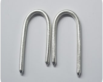 Spiky U - Gauged Simple Earrings in Sterling Silver for Stretched Ears 8g 10g 12g 14g 1.5mm 2mm 2.5mm 3mm