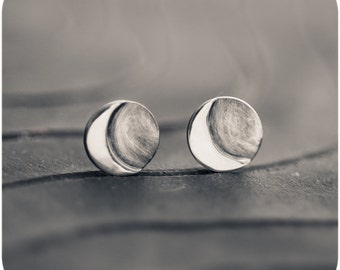Luna - Moon Crescent Sterling Silver Stud Earrings