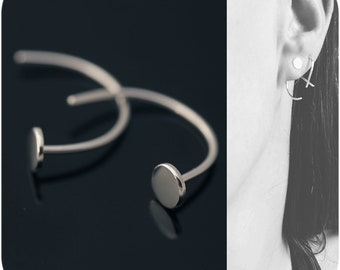 Nailed - Small Circle Earrings with Long Stem in Sterling Silver