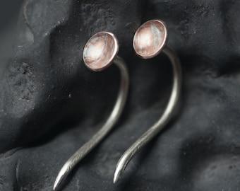 Mokume Gane - Gauged Earrings in Sterling Silver and Copper - Nail Ear Plug 12g 2mm