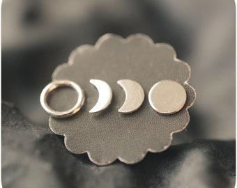 Luna - Moon Phases Sterling Silver Stud Earrings Set