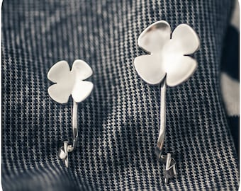 Four Leaf Clover Pin - Sterling Silver Forged Brooch