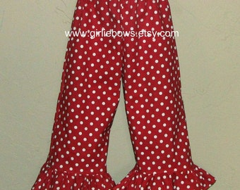 Red and White Polka Dot Ruffled Pants or Capris size 6 12 18 24 month mo 2T 3T 4T 5T 6 7