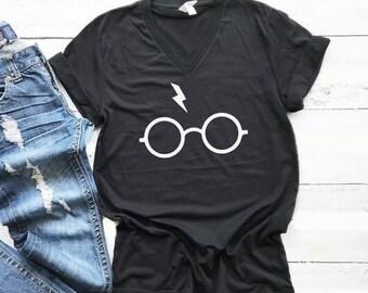 bc16a6a43fe0 Harry Potter Glasses Shirt, Universal Studios Shirt, Harry Potter Shirt  Plus Size Womens, V-Neck Harry Potter Glasses Tshirt