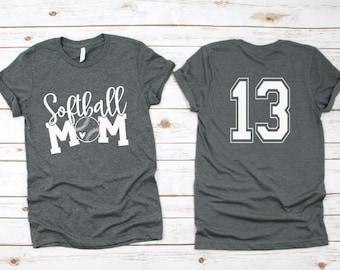 0cd1e231530c Cute Softball MOM Shirt, Custom Softball Shirt - Custom Softball Gift -  Mothers Day Gift Softball Mom - Personalized Softball Mom Shirt