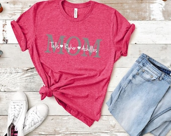 e30784ba Mom shirt with kids names/Mother's Day shirt/family names/ mom shirt /Shirt  for Mom with Names/ gift/ mom birthday gift/children's names