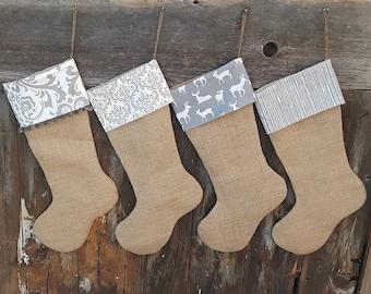 family stockings burlap christmas burlap stocking personalized burlap stockings farmhouse christmas rustic christmas custom stocking name - Rustic Christmas Stockings