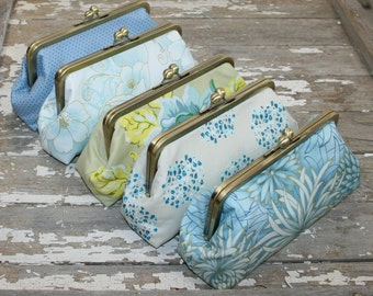 Bridesmaid Gift Set/Bridesmaid Clutches/Sky Blue Bridesmaid Clutches - Choose your own Colors and Fabrics, Customized Clutches