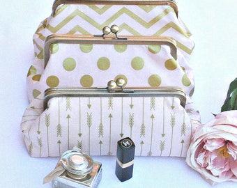 Blush Gold Clutch Purse, Bridesmaid Clutch, Bridal Clutch, Wedding Clutch, Bridal Purse, Bridesmaid gift set - You choose the fabrics