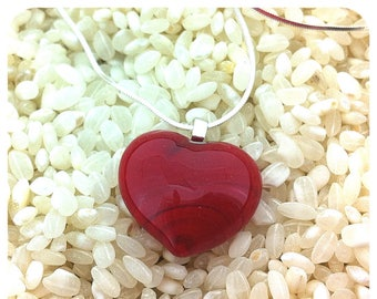 "Red Glass Heart Pendant Necklace - Sterling Silver 18"" Chain - Gift Boxed"