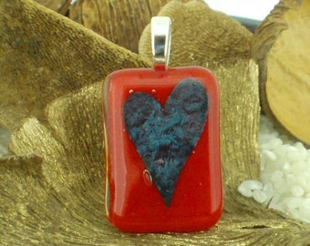 Fused Glass Pendant with Encased Heart on Large Silver Plated Bail Fitting- Scarlet Red - Gift Boxed.