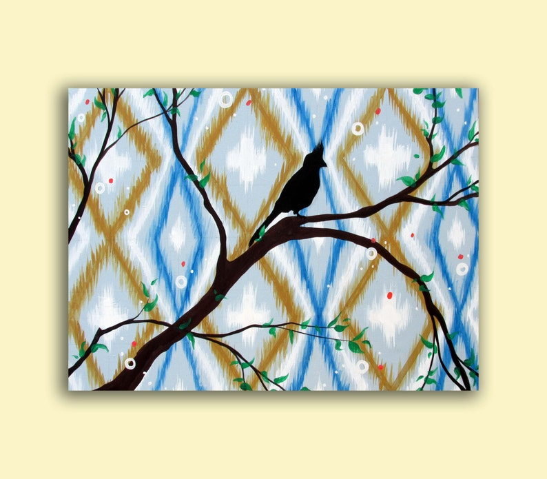 Blue Ikat Painting..Bird Art...Original HUGE Abstract image 0
