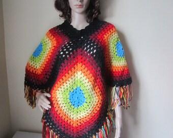 Afghan Poncho, Granny square poncho,  rainbow poncho, Crochet poncho, fringe poncho, Motif poncho, ROYGBIV, Festival poncho, Hippie poncho