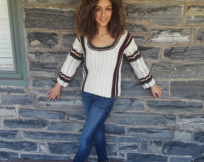 SWEATER/ Jumper/ crochet varsity sweater/Fall/winter fashion/Autumn sweater/ crochet top/gift for her/ womens sweater/ knitwear sweater