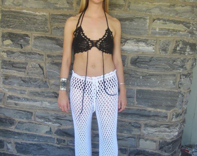 Bralette, festival clothing, BRALETTE, crochet  halter crop top, gypsy clothing, Bohemian top, beachwear, gypsy, boho top, *ready to ship*