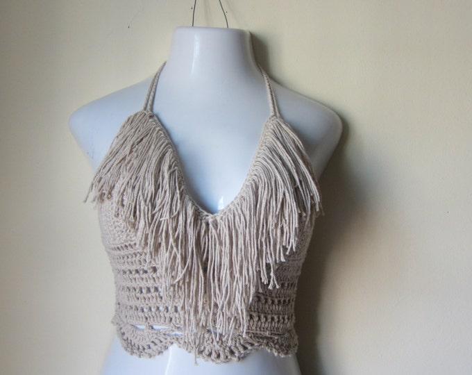 Crochet Fringe top, Crochet cropped halter top, BEIGE croceht top,  festival, bikini top, gypsy, boho bohemian, summer top, 70's top