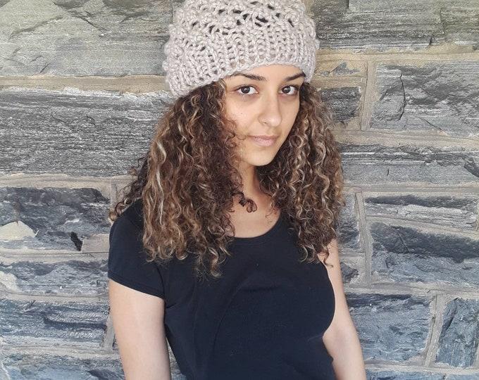 Knit skull cap beanie/beige beanie/skull cap hat/womens beanie/knit beanie/gift for her/holiday gift/warm hat/beanie/hat/FallWinter Fashion