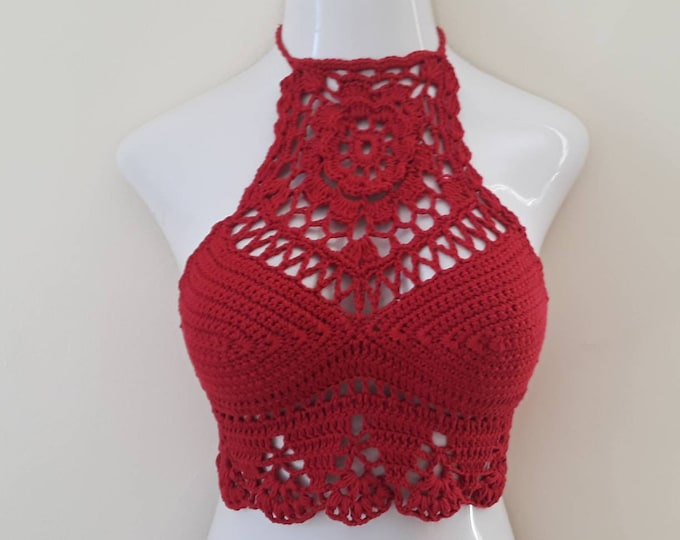 RED MANDALA CROCHET halter Top, festival clothing, Lotus flower top, valentines day crop top, bohemian clothing gypsy clothing, beachwear