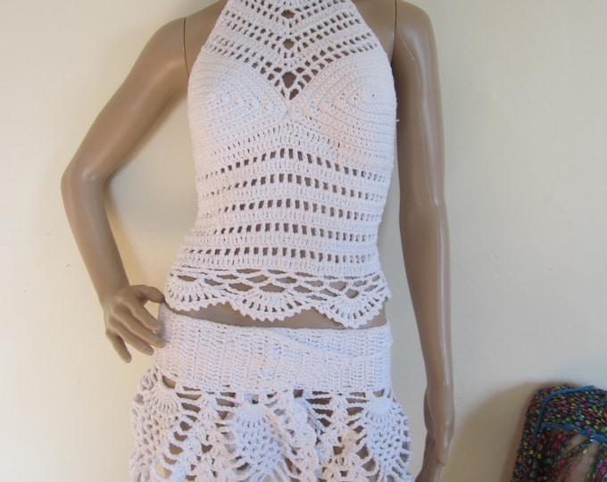 WHITE HALTER TOP,  festival clothing, crochet tank halter top, cropped top, festival top,  beach cover boho chic , summer top,